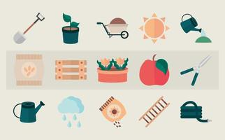 Gardening and harvesting flat icon collection vector