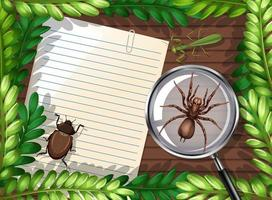 Top view of blank paper on table with leaves and insects elements vector