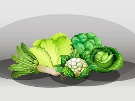 muchas verduras diferentes en un grupo vector