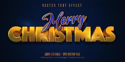 Merry Christmas text, shiny golden style editable text effect on blue color textured background vector