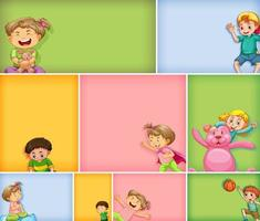 Set of different kid characters on different color backgrounds