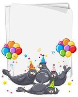Paper template with seals in party hats