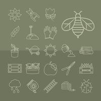Gardening and harvesting line-art icon collection vector