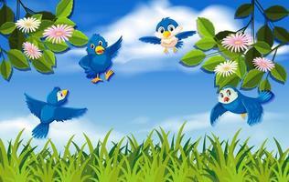 Flying blue birds in nature vector