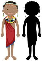 Set of African tribe character and silhouette