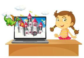 Fairy tale desktop background on laptop with girl vector