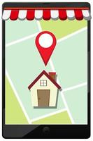 Location pin on mobile application icon