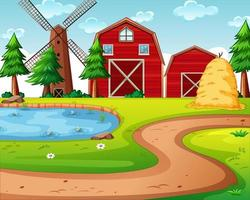 Farm with red barn and windmill vector