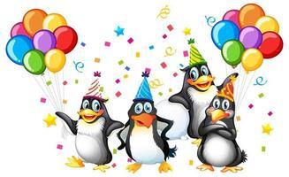 diseño de tema de fiesta de pingüinos vector