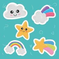 Cute kawaii sticker set vector
