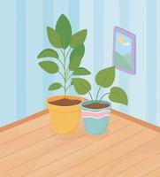 plantas en macetas en la esquina del interior de una casa