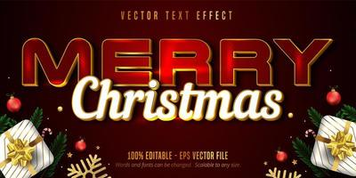 Merry christmas text, luxury golden style editable text effect on red color textured background vector