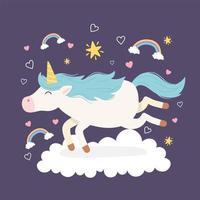 personaje de dibujos animados de unicornio mágico con arco iris vector