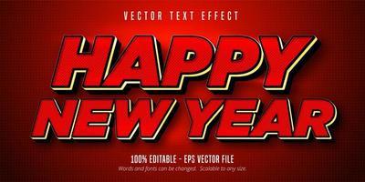 texto de feliz año nuevo, efecto de texto editable de estilo de color rojo vector