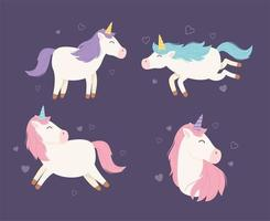 Magic unicorn cartoon character set vector