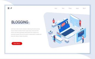Blogging isometric landing page