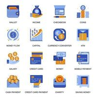 Money transaction icons set in flat style.
