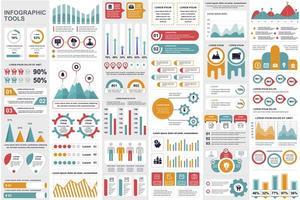 paquete de elementos de infografía empresarial vector