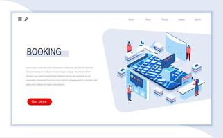 Online booking isometric landing page