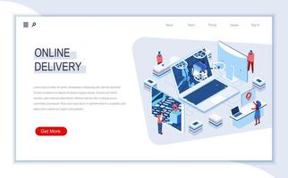 Online delivery isometric landing page vector