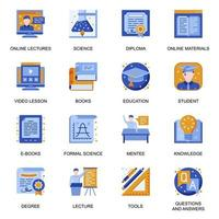 Education icons set in flat style. vector