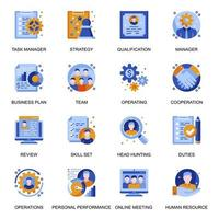 Management icons set in flat style. vector