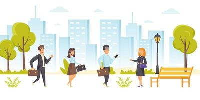 Busy office workers, managers or clerks
