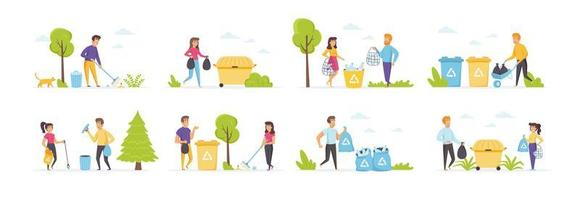 Garbage collection set with people characters vector