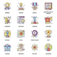 Personal success flat icons set.