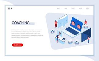 Business coaching isometric landing page vector