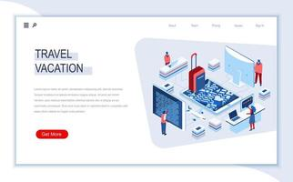 Travel and vacation isometric landing page