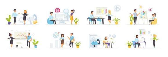 estrategia de marketing con personajes de personas. vector