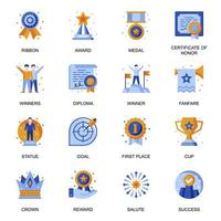 Business success icons set in flat style.