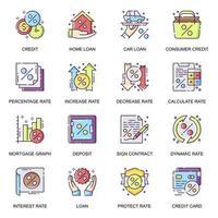 Credit and loan flat icons set. vector