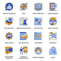 Marketing strategy icons set in flat style. vector