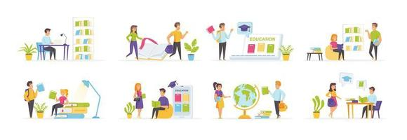 Online education set with people characters