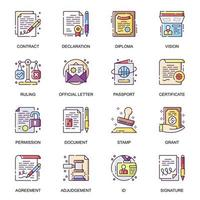 Legal documents flat icons set. vector