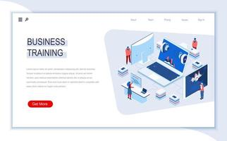 Business training isometric landing page vector