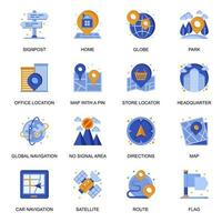 Navigation system icons set in flat style. vector