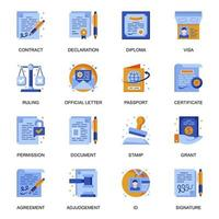 Legal documents icons set in flat style. vector
