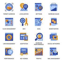 SEO icons set in flat style. vector