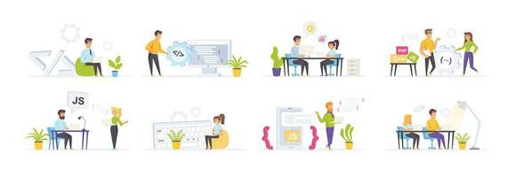 Software development set with people characters