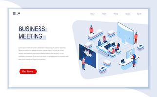 Business meeting isometric landing page vector
