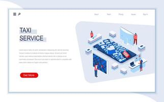 Taxi service isometric landing page vector