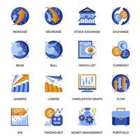 Stock trading icons set in flat style.