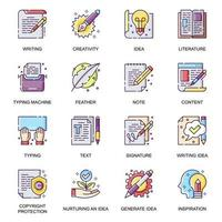 Copyrighting work flat icons set. vector