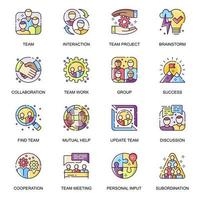 Teamwork flat icons set. vector