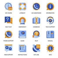 Web support icons set in flat style.