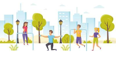Happy men and women jogging or running