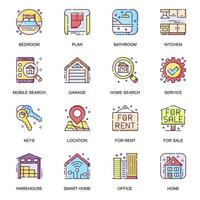conjunto de iconos planos inmobiliarios.
